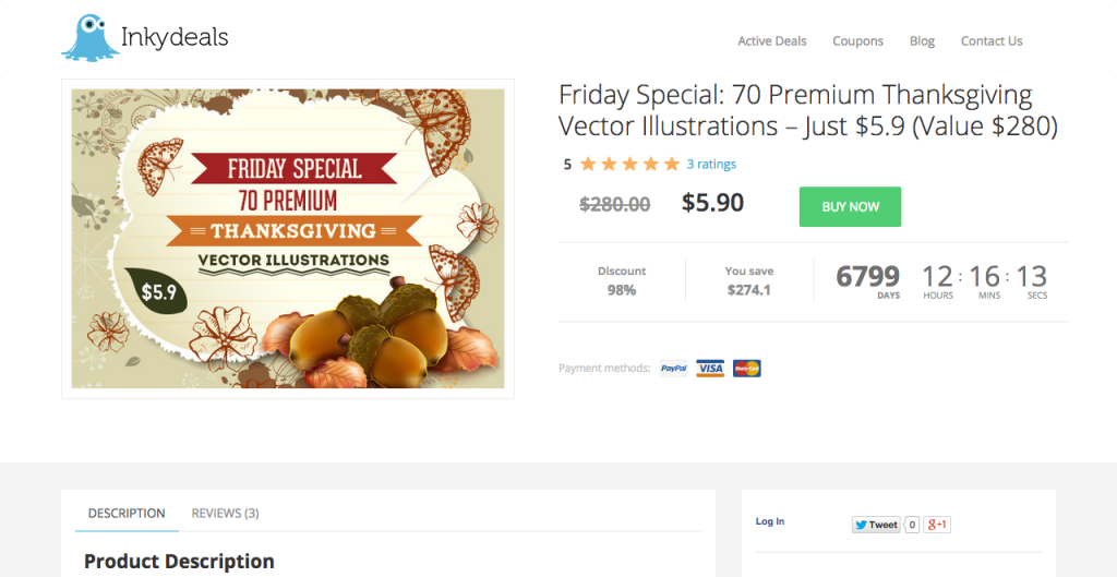 new.inkydeals.com deal friday special 70 premium thanksgiving illustrations